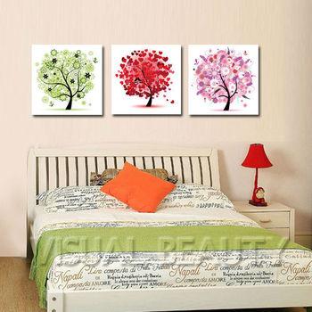 3 Stück Abstrakte Bäume Farbenfrohen Gemälden Wohnzimmer Dekor Leinwand Wand  Art