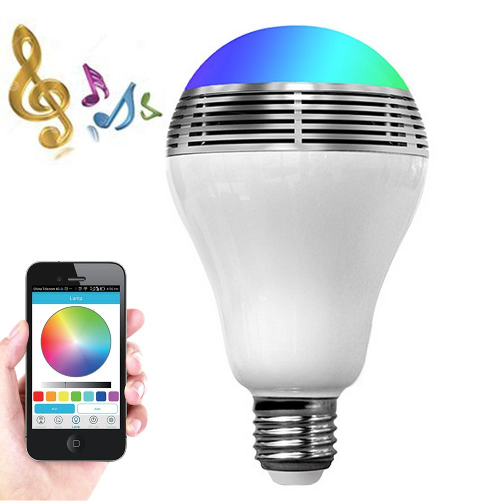 Smart LED Light Bulb Bluetooth Speaker Halloween Gifts, 3W E27/E26 RGB Changing Music Lamp Wireless Stereo Audio Smartphone Controlled Dimmable Multicolored Color Changing Lights for iPhone Android