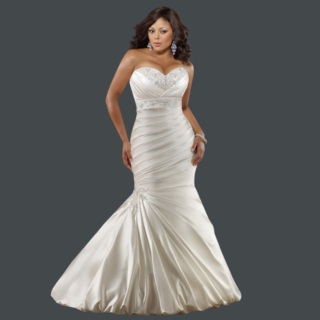 French Lace Mermaid Wedding Dress: French Style Sweetheart Embroidery Lace Up Satin Plus Size