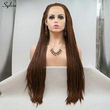 Sylvia натуральный Плетеный парик темно-коричневый/белый блонд/Блонд кружевной передний парик длинные женские высокотемпературные синтетиче...(Китай)