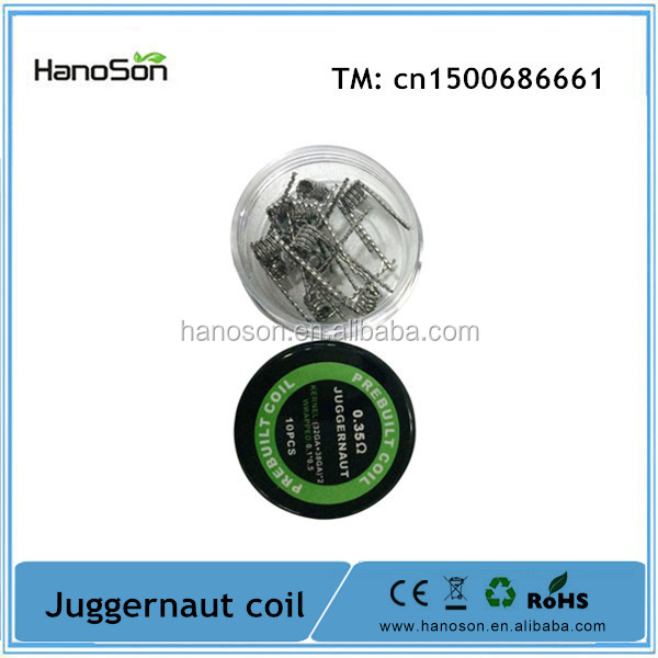 Shenzhen e cigarette 2016 new product kan a1 wire twisted 0.35ohm Juggernaut coil from Hanoson Tech