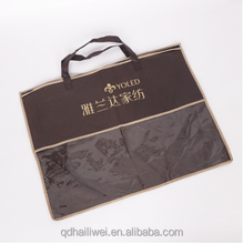 custom design plasti with handle non woven pillow bag carry home textile bag