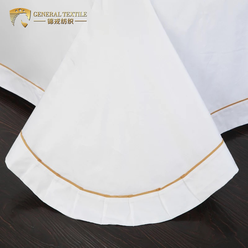 White embroidered golden flower king size hotel bedding sheets set
