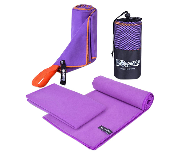 Wholesale custom color oversized double faced suede sports swimming hot yoga towels in microfiber with a strap in mesh pockets