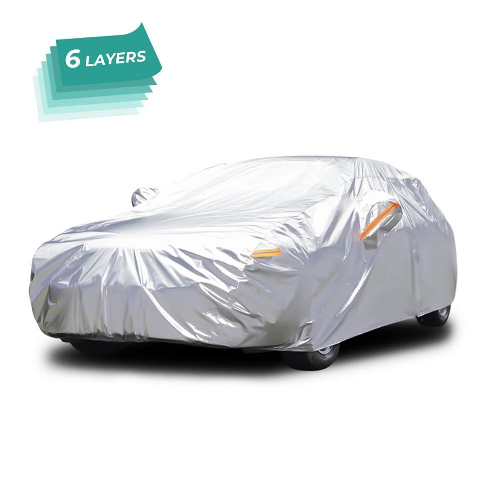 Woqi All Weather Car Cover 6 Layer Breathable UV Protection Waterproof Dustproof Universal Fit Full Car Covers for Sedan