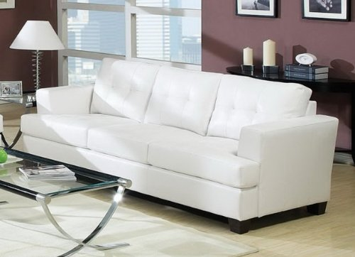 Acme 15095B Diamond Bonded Leather Sofa with Wood Leg, White