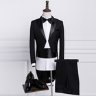 Mens Classic Black White Shiny Lapel Tail Coat Tuxedo Wedding Groom Stage Singer Four Piece Suits
