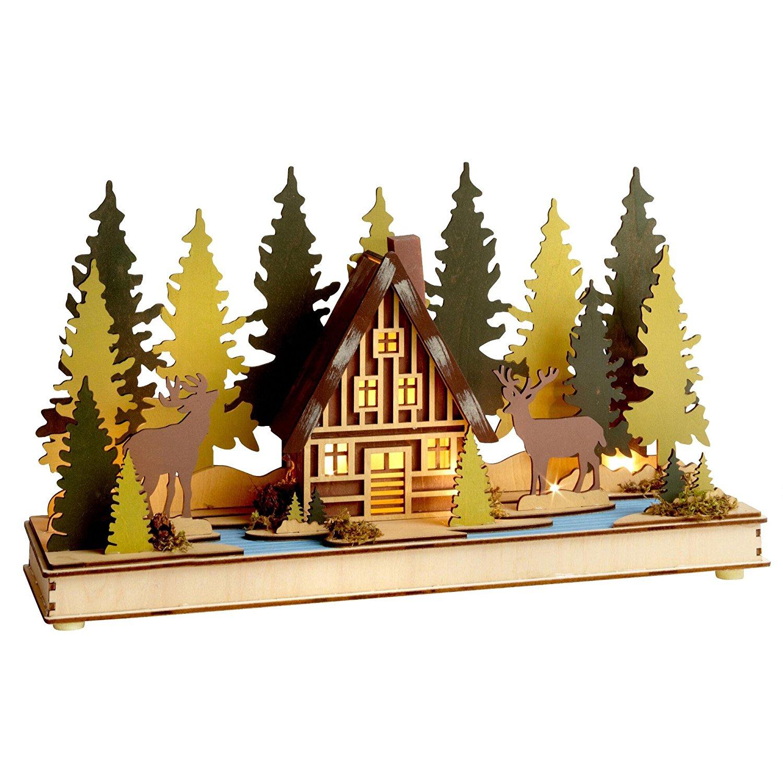 Rustic Woodland Village Bavarian Wooden Illuminated Lake Scene (Moose Cottage)