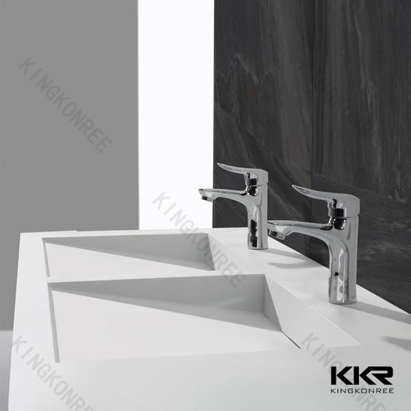 Blanc pierre salle de bain double vasque vier - Double evier salle de bain ...