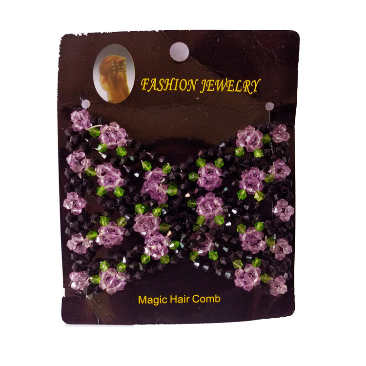 Best sale women fashion magic hair claw plastic flower bead hair disk