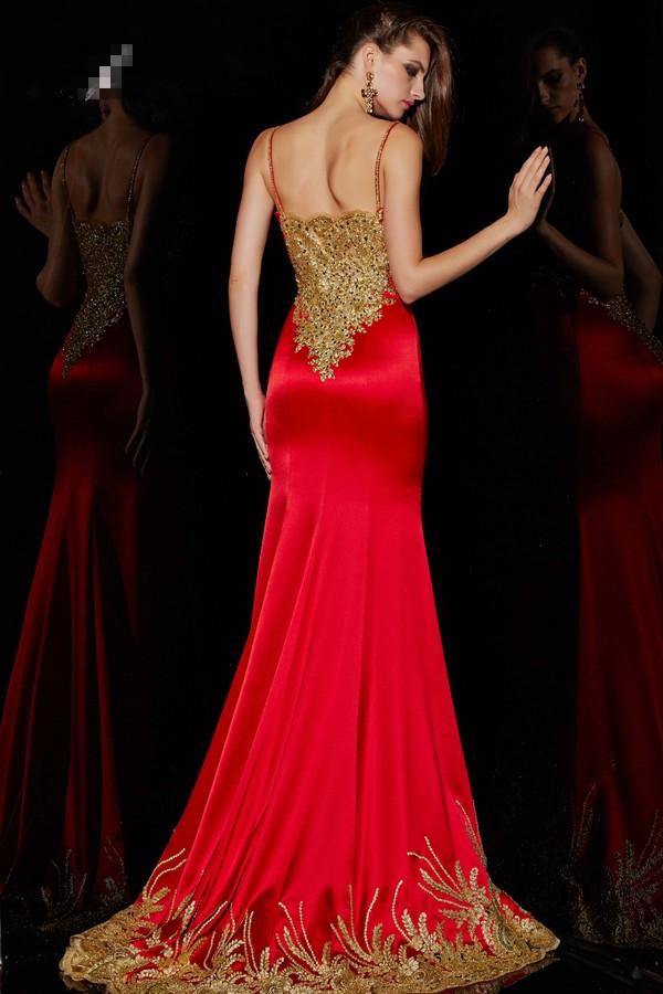 2015 rojo atractivo de la sirena vestido de fiesta con correas ...