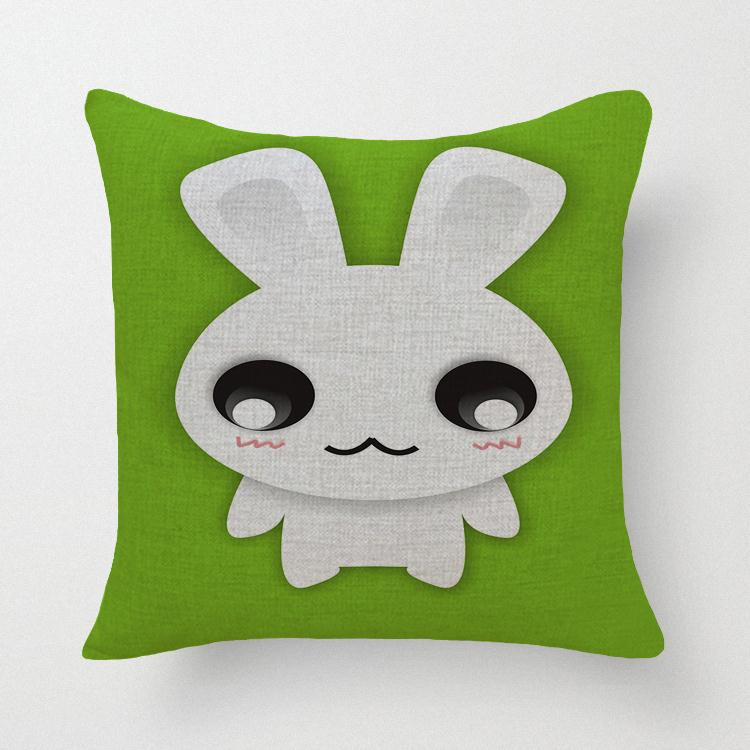 Hot Sale Thick and Thin Cotton Linen Decor Pillow New Home Fashion Crhistmas Gift 45cm Green and Pink Rabbit Office Sofa Cushion