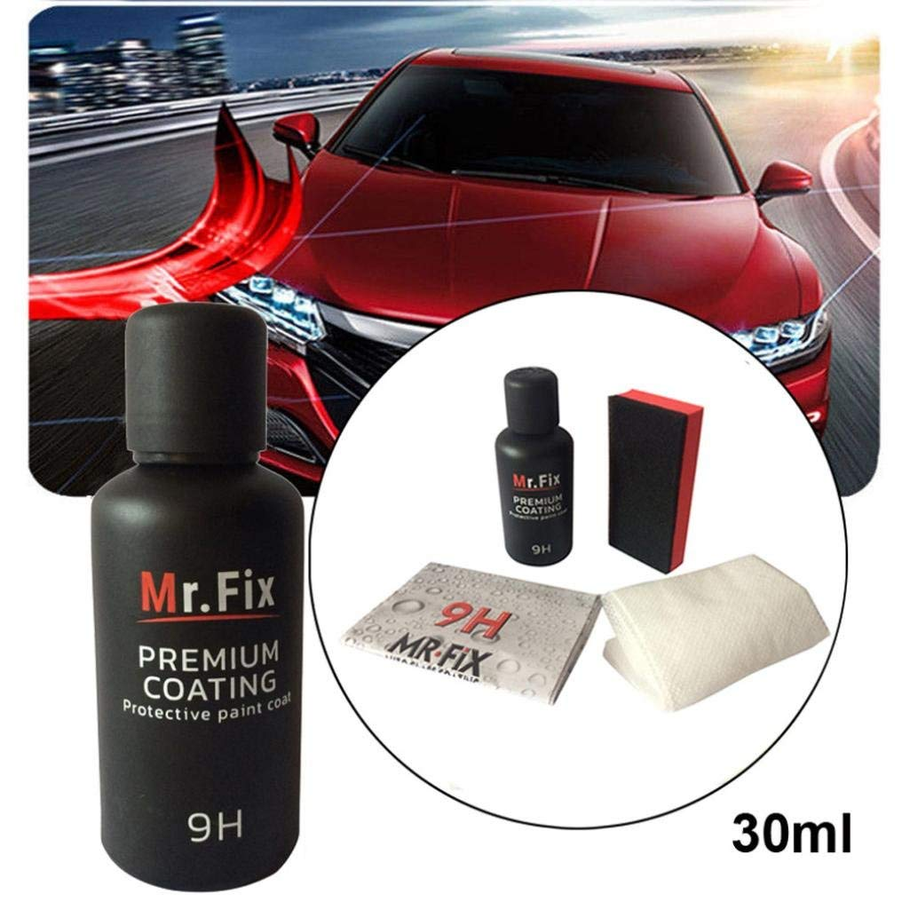 Exteren 30ML 9H Car Oxidation Liquid Ceramic Coat Super Hydrophobic Glass Coating Set Car Ceramic Coating Kit (Multicolor)