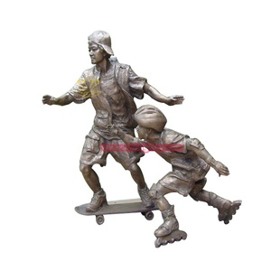 Cast bronze boy statue playing scooter sports for Park ornaments