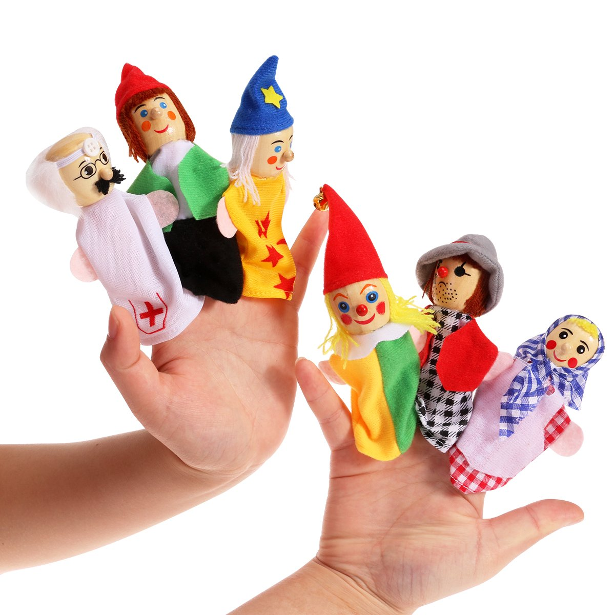 NUOLUX Wooden Finger Puppets Soft Velvet Dolls Props Toys 6pcs Includes Clown/Taoist/Worker/Women/Doctor/Pirates