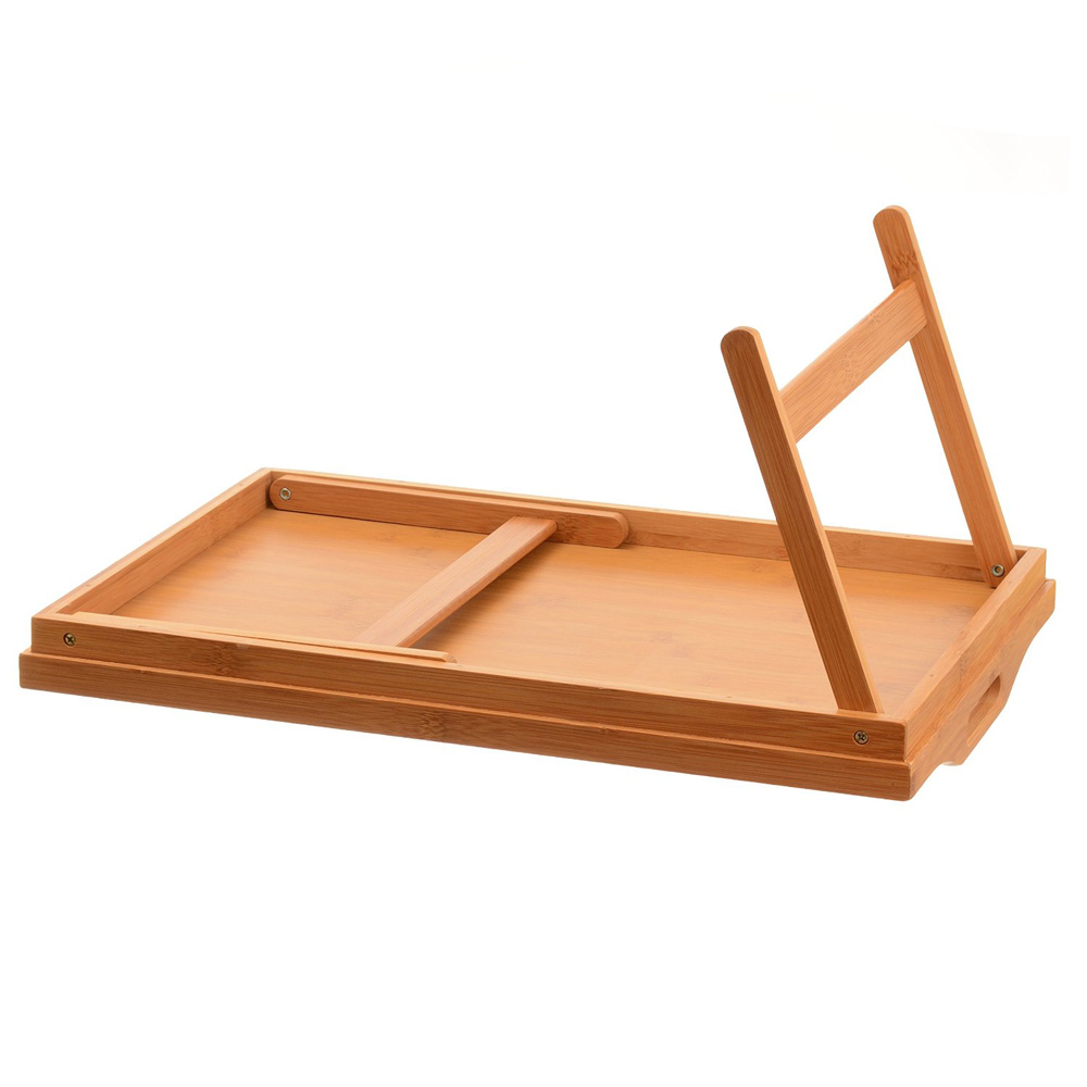 TV Dinner Folding Bed Tray Table Breakfast Tray Bamboo Wood Bed Table