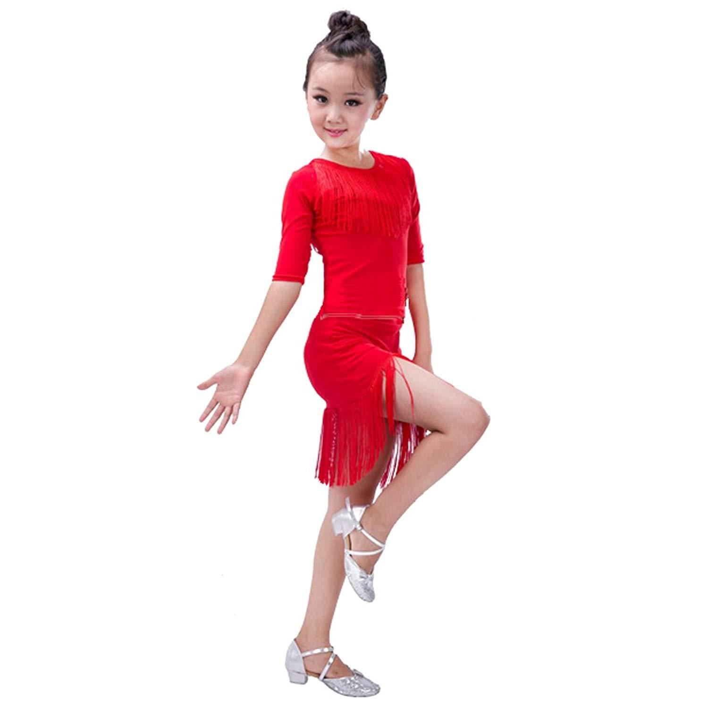 bd2b91addebe26 Get Quotations · XFentech Dancing Clothing Set Girls Latin Dance Cha-cha  Short-Sleeved Tassel Tops +