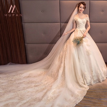 Wit Ivoor Trouwjurken Mermaid Bridal Baljurken Off Schouder Elegante Prinses 2019