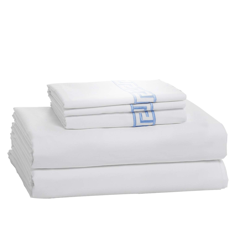 Simple&Opulence 100% Cotton 400 Thread Count Light Blue Embroidery Sheet Set (Queen, Light Blue)
