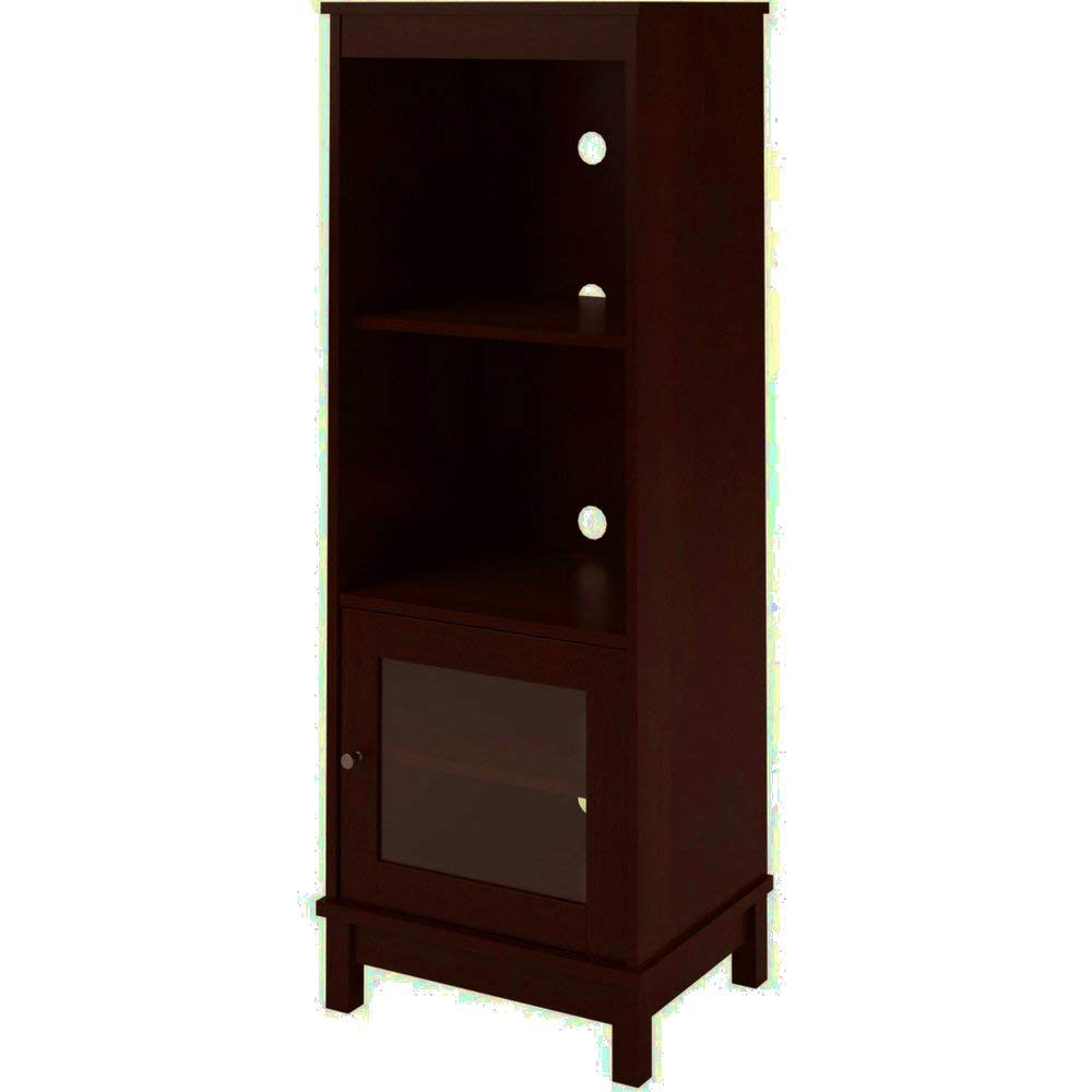Get Quotations · EFD Multi Media Cabinet With 4 Shelves And Glass Door  Adjustable Cherry Wooden Storage Home Tall
