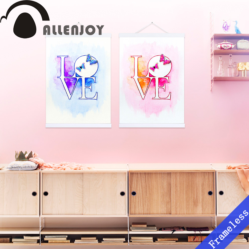 2 Love Butterfly Simple Alphabet Watercolor Picture Poster Prints Hipster Canvas Painting Wall Art Home Decor Gifts Frameless