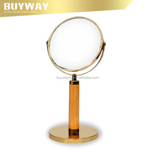 Special design round double side wood standing mirror