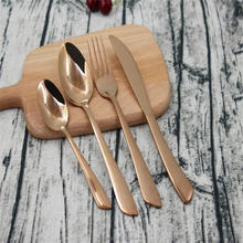 Newest design gold stainless steel 16 pcs or 24 pcs Wedding cutlery set ,luxury rose gold plated Flatware