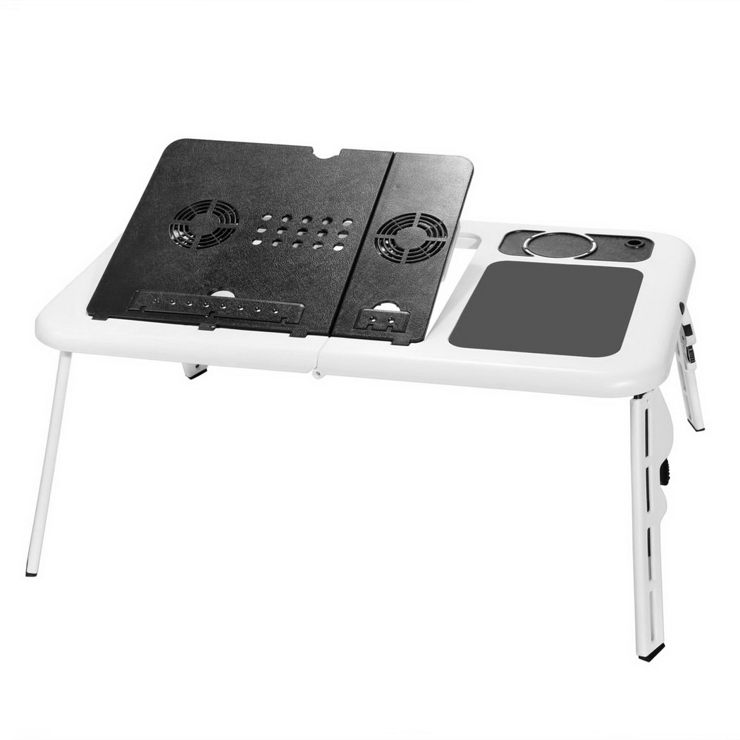 F&D Portable Folding Laptop Desk Stand Laptop Table with Adjustable Legs, 2 Cooling Fans and USB Port, Multi-Functional Laptop Cooling Pad, White