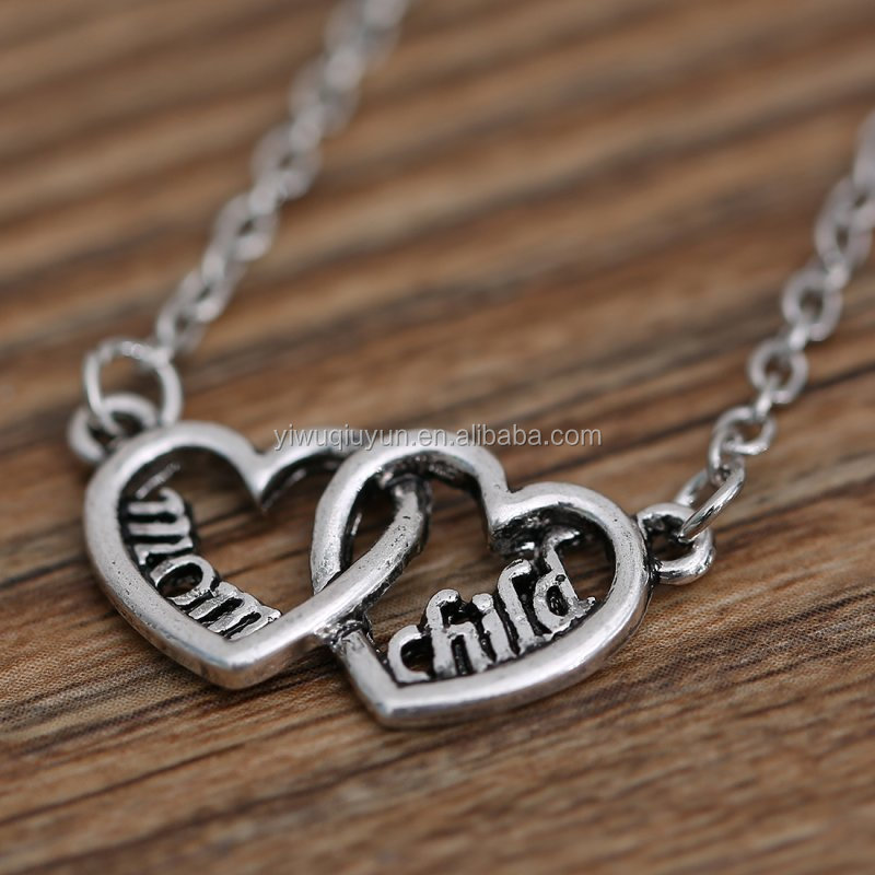 2016 Silver Plated Double Love Heart Pendant Necklaces Mom Child Pendant Necklaces Jewelry for Women Fashion Neckalces