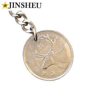 Custom Country Metal Souvenir Coin Canadian Deer Penny Keychain
