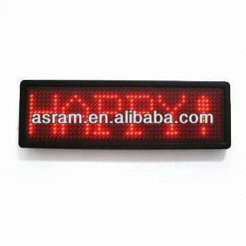 ASRAM LED alibaba express led sign with CE&ROHS Mini USB scrolling led name badge/led name card/led name tag