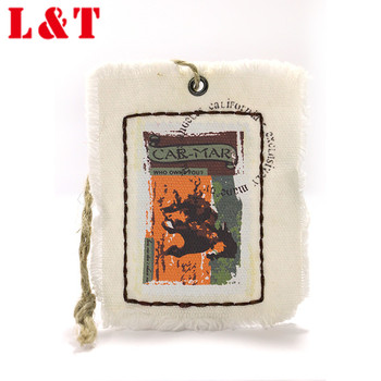 Customized unique design manufacturer fabric hang tag for clothing with string