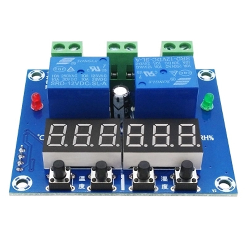 Xh-m452 Dual Output Automatic Thermostat Temperature Humidity Control Thermometer Hygrometer Controller Module DC 12V LED