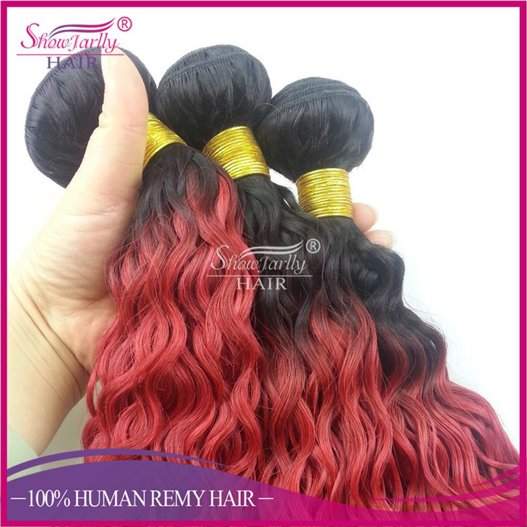 curly coloured hair wholesale indian remy wavy red hair,1b red bright colored weave