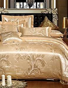 BENBU Modern Fashion Shu Soft Bedding 4-Piece Rome Style Jacquard Nobility silk Bedding, Embroidered Bedding Duvet Cover Set , full-beige , full-beige