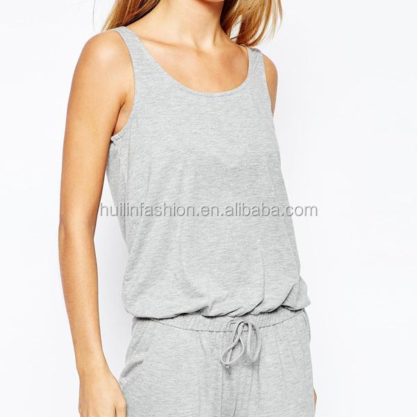 bb2af9b90809 Wholesale Adult Women Grey Jersey Jumpsuit Pyjamas Romper - Buy ...