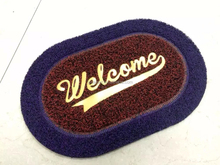 Eco-friendly and fashion welcome logo stripe pvc door mat