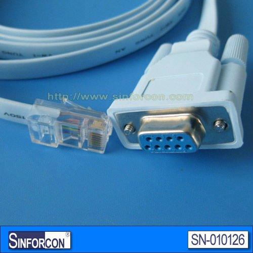 CISCO Console cable, cisco server adapter cable, DB9 female to RJ45 modem control cable