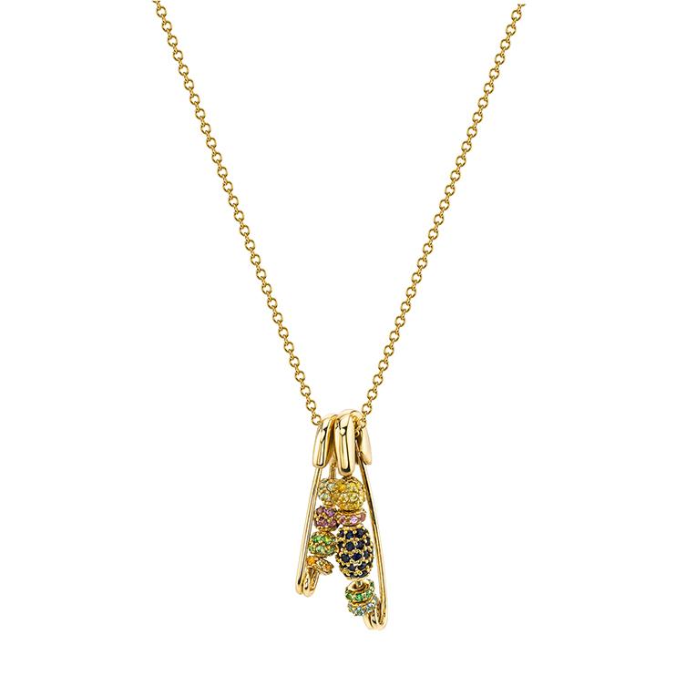 3375556906b5 18 k oro moderno pin encantos en forma de catálogo joyería collar ...