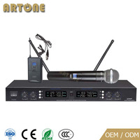 Professional UHF 4 Channels Handheld headset best Wireless Microphone system for church Karaoke KTV