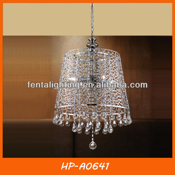 Modern aluminum wire lampshade pendant lamp with crystal HP-A0641
