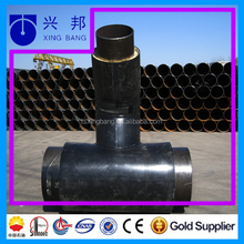 20# steel tee pipe fitting with insulation layer and hdpe casing