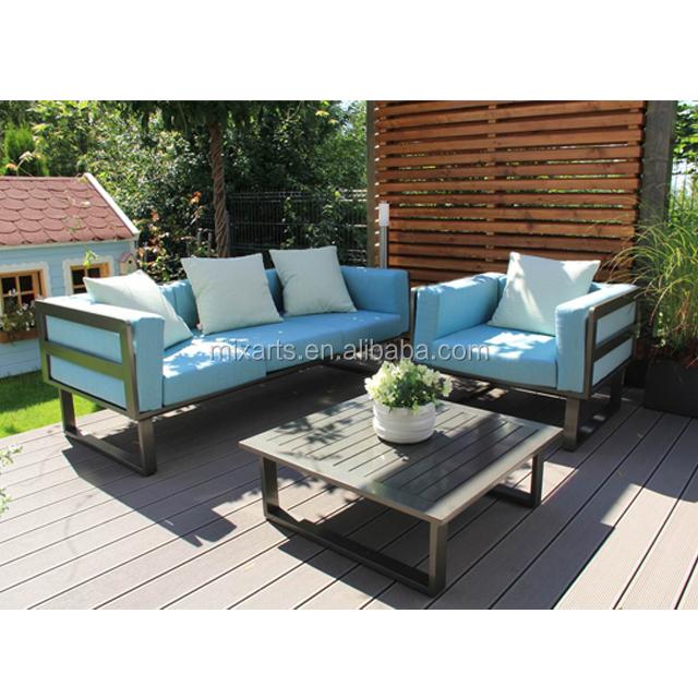 Dark Grey Couch L Shaped Aluminium Patio Sofa Outdoor Furniture Sets Modular Garden Sofa