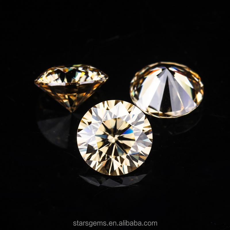 도매 샴페인 컬러 합성 다이아몬드 모이 사 나이트 대한 모이 사 나이트 반지