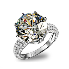 Real silver plated ring 8 Carat cubic zirconia Diamond Luxury Engagement Wedding Rings For Women fashion jewelry 7 size VSR064