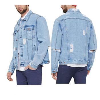 Großhandel Denim Männer Baumwolle Machen Alte Loch Jeans Jacke Buy