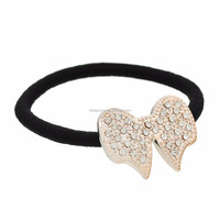Girl's Light golden Clear Rhinestone Bowknot Elastic Hair Band Ponytail Holder