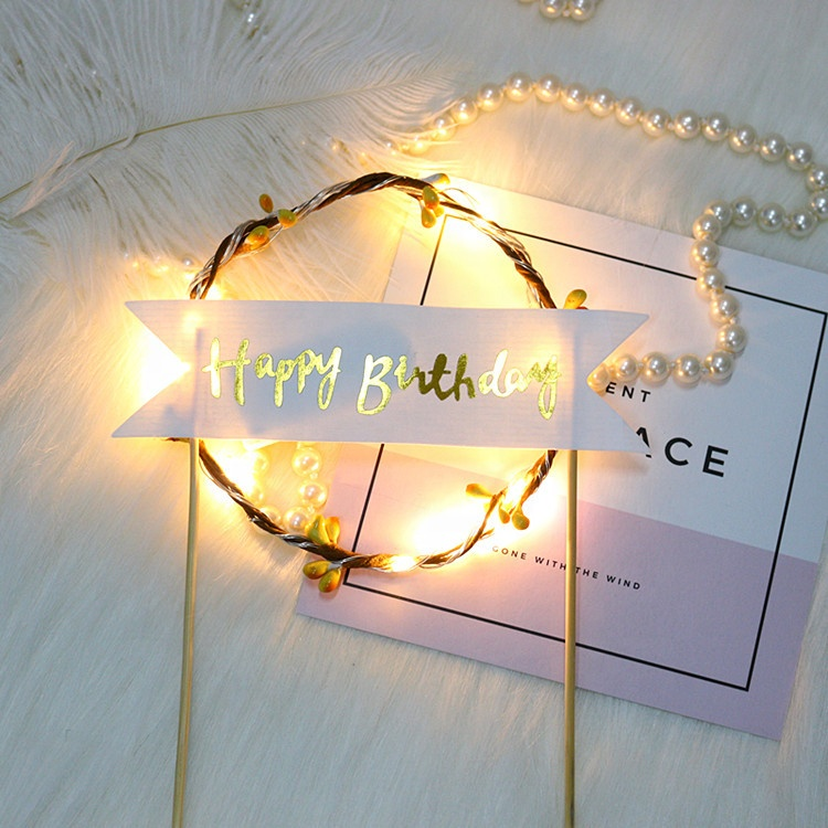 Birthday Party Decorations Blue Pink Gold lights Happy Birthdays LED Cake Topper Garland Cake Toppers