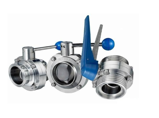 304/316L Bebek Loading Cepat Butterfly Valve Stainless Steel Manual Sanitary Kelas Clamp Valve