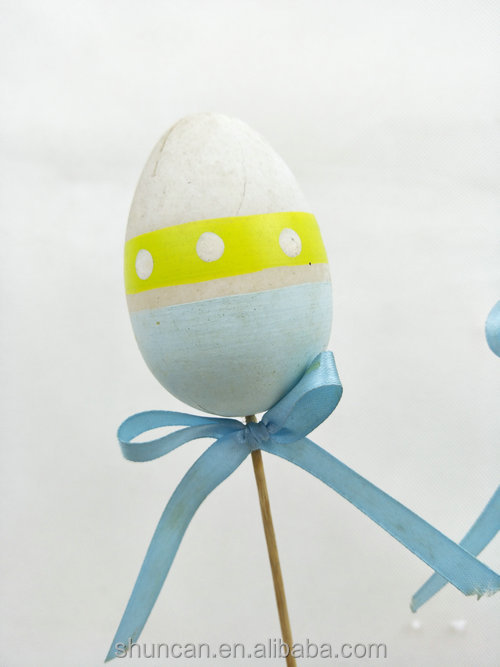 Easter Plastic Egg with Stick Painted Wrapped with fabric